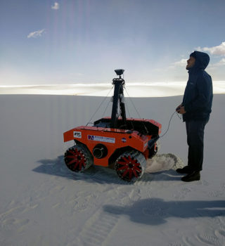 This rover at White Sands National Monument, New Mexico will be used by the research team in Iceland.