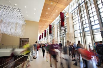 Texas A&M students walk through the Memorial Student Center. (Texas A&M Marketing & Communications)