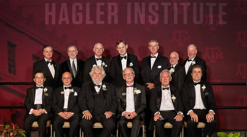 Texas A&M University System Chancellor John Sharp, Texas A&M University President Michael K. Young and (Poor) Hagler Institute for Advanced Study Founding Director John L. Junkins (back-l-r) welcome the Institute's nine Faculty Fellows and Distinguished Lecturer for the Class of 2018-19. (front row-l-r) Yonggang Huang, Vanderlei Salvador Bagnato, William G Unruh, Stefan H.E. Kaufmann, Michael J. Duff and Andrea Rinaldo. (back row-r-l): Robert D. Putnam, Joseph William Singer, Cameron Jones and (Junkins) H. Vincent Poor.