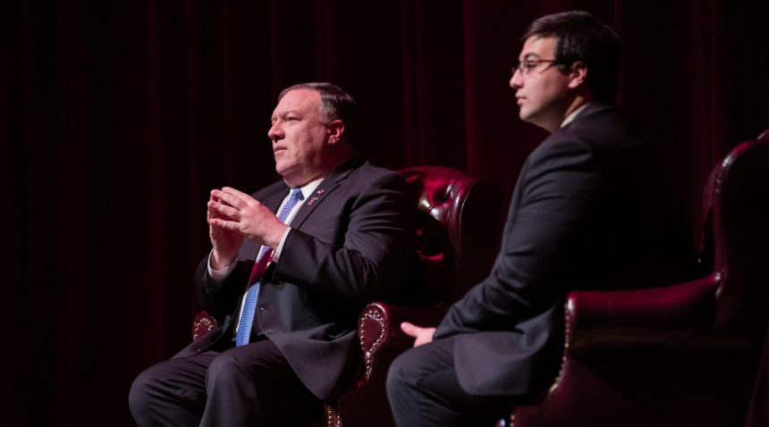 Secretary of State Mike Pompeo fields questions from the audience following his Wiley Lecture Series talk on diplomacy.
