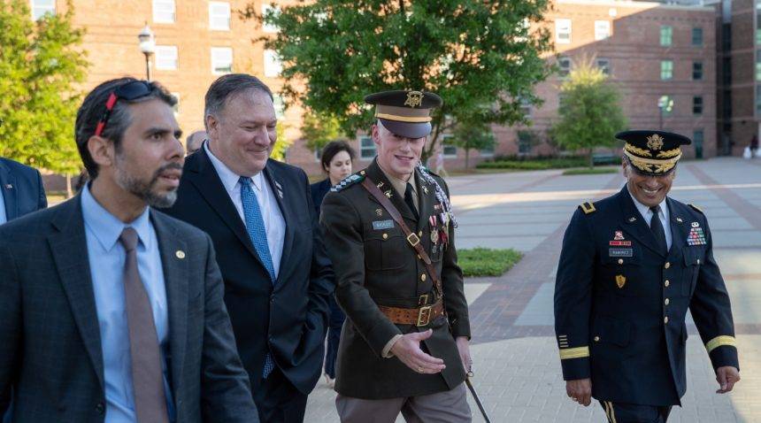 Corps of Cadets Commander Adam Buckley speaks with Secretary of State Mike Pompeo.