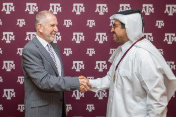 Texas A&M President Michael K. Young and His Excellency Mohammed bin Saleh Abdulla Al-Sada.