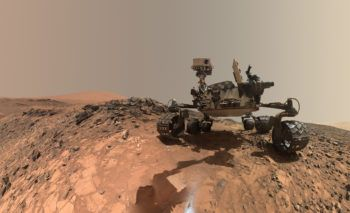 "A low-angle self-portrait of NASA's Curiosity Mars rover shows the vehicle at the site from which it reached down to drill into a rock target called ""Buckskin"" on lower Mount Sharp."
