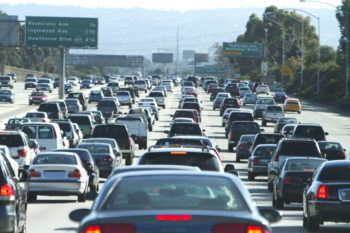 Cars in a traffic jam in Los Angeles, California