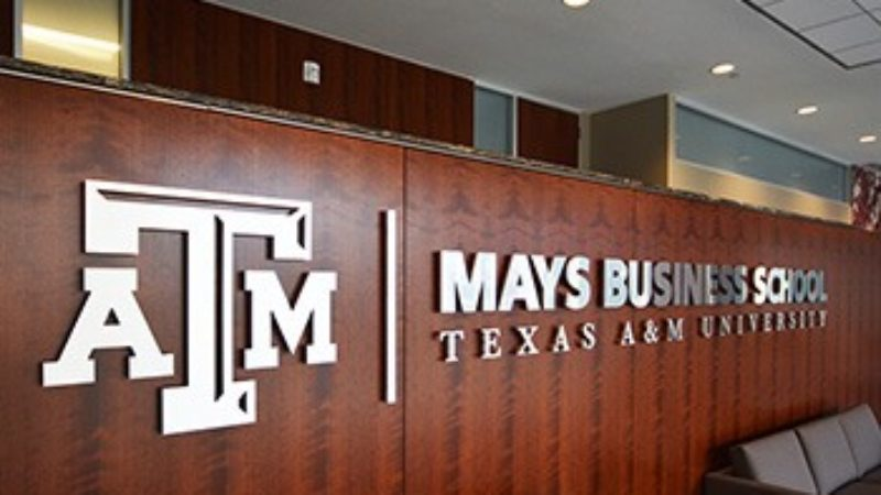 A sign that reads Mays Business School Texas A&M University