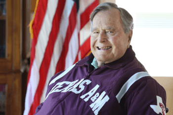 Former President George H.W. Bush wearing a Texas A&M jacket