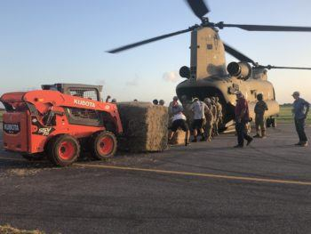 1,471 square bales of hay loaded onto helicopter