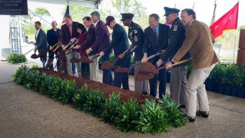 Officials break ground on the new Bush Combat Development Complex, named in honor of former President George H.W. Bush.