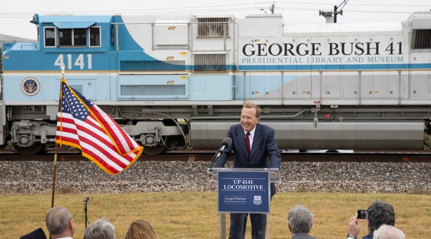 Neil Bush, the son of President George H.W. Bush and First Lady Barbara Bush, speaks at the announcement of the donation of Union Pacific 4141 to the George H.W. Bush Presidential Library and Museum.
