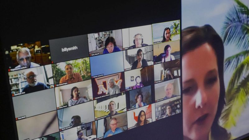 a screen featuring a Keep Teaching videoconference