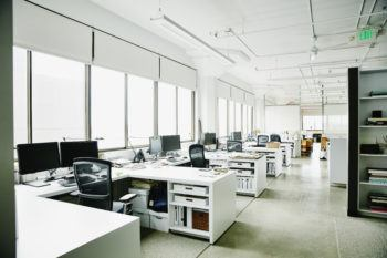 workstations in an empty office