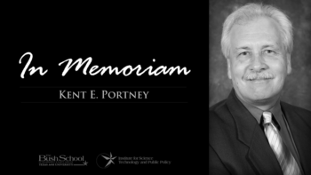 "graphic reading ""in memoriam: kent portney"" next to black and white photograph of portney"