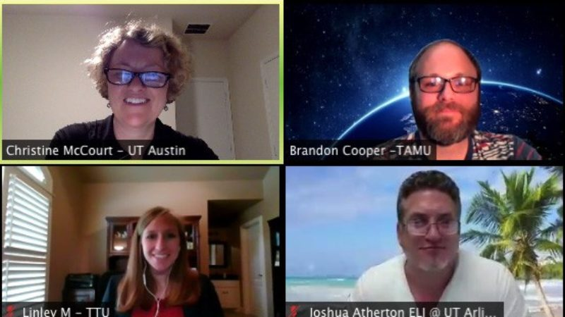 """a photo of a zoom meeting featuring some of the participants in the TexITAP"""" (Texas International Teaching Assistant Professionals)"""