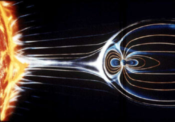 Graphic illustrating how charged particles released from the sun interact with the Earth's magnetic poles in the harsh environment of space.