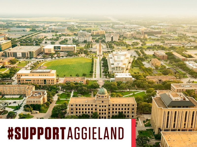aerial view of campus with support aggieland graphic overlay