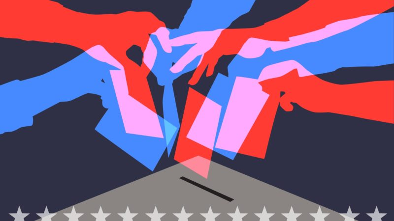 Colourful overlapping silhouettes of people voting in USA elections
