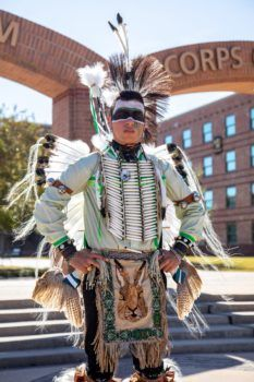 a photo of George Hass in his Native American regalia