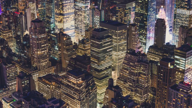 aerial view of midtown manhattan at night