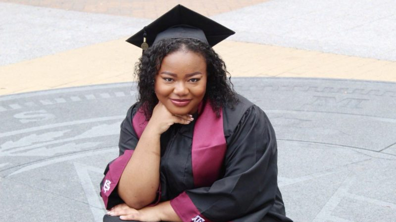 a photo of Celeste Lundy in her graduation cap and gown