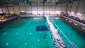 overhead view of a large indoor pool