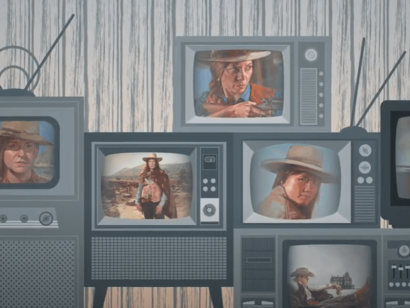video still of animated female western heroes on tv screens