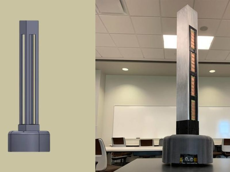 side by side images of a design of the robot next to the final prototype
