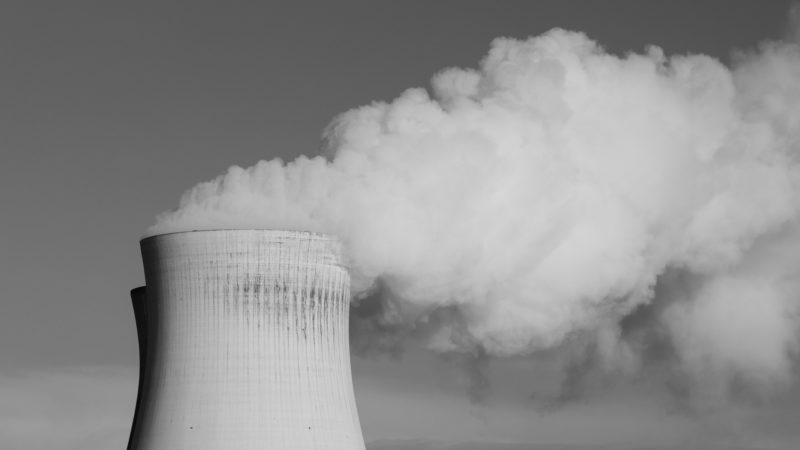 nuclear power plant black and white image