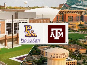 a graphic featuring side-by-side logos from Texas A&M and Prairie View A&M