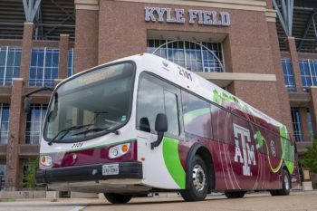 a photo of one of Texas A&M's electric buses