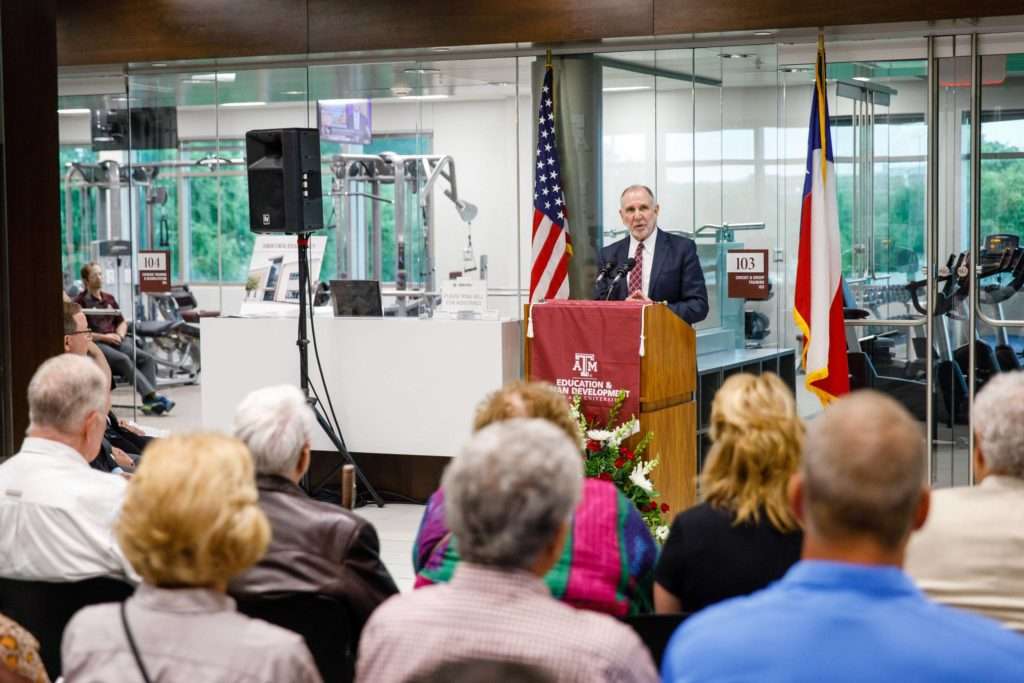 President Michael K. Young provided remarks for the grand opening of the Human Clinical Research Facility.