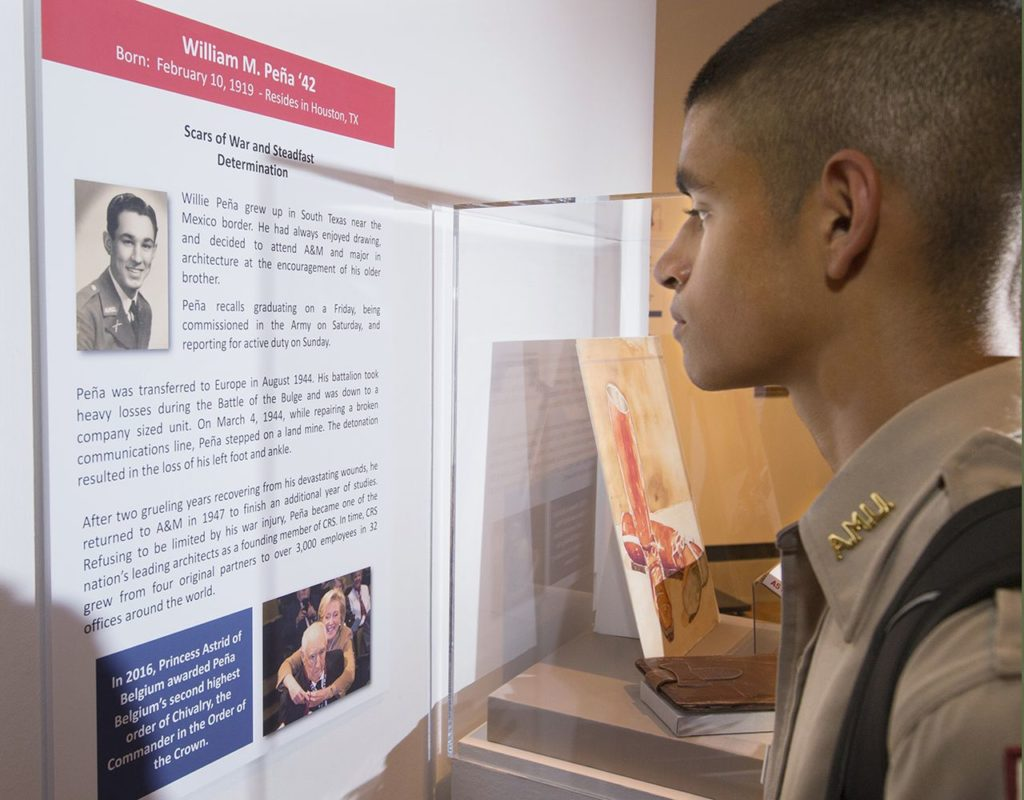 William Merriweather Peña '42 will be honored alongside four Aggies who served during World War II in a multimedia exhibit.
