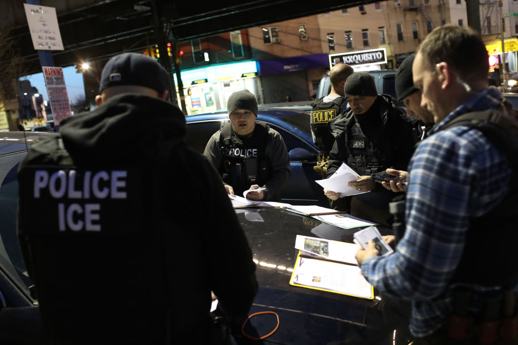 """11:  U.S. Immigration and Customs Enforcement (ICE), officers prepare for morning operations to arrest undocumented immigrants on April 11, 2018 in New York City. New York is considered a """"sanctuary city"""" for undocumented immigrants, and ICE receives little or no cooperation from local law enforcement.  ICE said that officers arrested 225 people for violation of immigration laws during the 6-day operation, the largest in New York City in recent years. (Photo by John Moore/Getty Images)"""