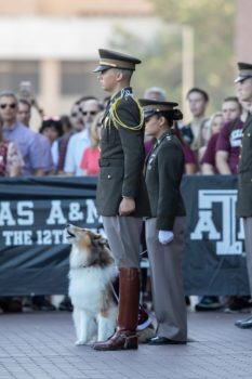 Mia Miller and Reveille IX at the funeral service of former mascot Reveille VIII on Aug. 30,2018